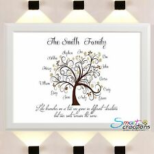 Personalised FAMILY TREE Sign Poster Print Christmas Gifts Family Name xmas A4