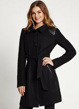 NWT GUESS $198 Natalie Faux Leather & Wool Coat Jacket Funnel Collar Black S 4 5