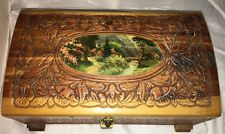Carved Cedar Wood Chest Jewelry Box Mirror Lock Picture Top Hinge Vintage