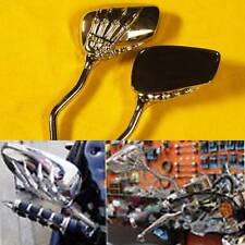 Custom Chrome Skeleton Skull Hand Claw Motorcycle Rearview Side Mirrors 8mm 10mm