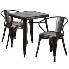 BLACK ANTIQUE-GOLD METAL INDOOR-OUTDOOR TABLE SET WITH 2 ARM CHAIRS