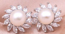 8mm Cultured Pearl CZ Cubic Zirconia Cluster White Gold Plated Stud Earrings