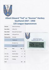 TED HANKEY SOUTHEND UTD 1937-1950 RARE ORIGINAL HAND SIGNED CUTTING/CARD