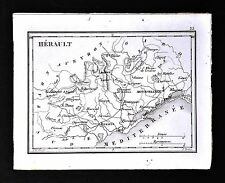 1833 Perrot Tardieu Map - Herault - Montpellier Beziers St. Pons Lodeve - France