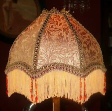 """LANGTRY, A VICTORIAN DOWNTON BEADED LAMPSHADE. GOLD BROCADE 12"""""""