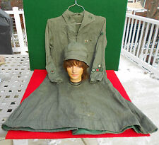 Girl Scout Gray Green Uniform and Hat 1920's 30's    5 Proficiency Badges