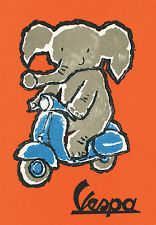 POSTER ELEFANT on VESPA SCOOTER - cm. 30x41 poster repro ELEFANT on VESPA