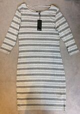 Brand NEW Grigio Vestito aderente con linee in & DOWN-TAGLIA 42 DA renuar-bnwt
