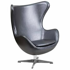 Flash Furniture ZB-23-GG Leather Egg Chair with Tilt-Lock Mechanism, Gray NEW
