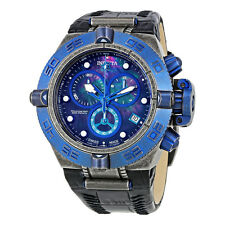Invicta Subaqua Chronograph Mother of Pearl Dial Black Leather Mens Watch 18446