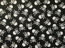 SMALL SKULLS BONES BLACK WHITE SKULLS COTTON FABRIC FQ