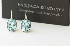 Silpada HTF Sterling Silver Filigree Large Oval Blue Topaz Drop Earrings RARE