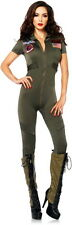 Top Gun Goose Maverick Navy Pilot Catsuit Halloween Costume Outfit Adult Women L
