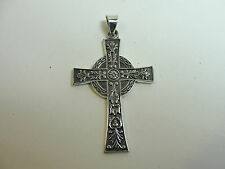 """.950 Sterling Silver Two-Tone Celtic Cross Pendant  2"""" Long including bail"""