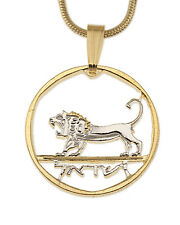 "Israel Lion, King David's Coin Pendant Necklace.Hand cut -3/4""diameter ( # 190 )"