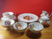 Vintage German Eschenbach Fruit & Nuts Teacups, Plates, Sugar Bowl Lid 15 PC
