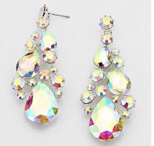 "3"" Long Silver Bridal Aurora Borealis AB Austrian Crystal Pageant Clear Earrings"