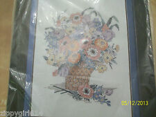 Bucilla Stamped Cross Stitch Kit Spring Blossoms Wicker Basket New Sealed