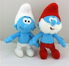 "2-pcs X'mas Fun Gift THE Smurfs 1 Set 9"" Papa & Clumsy Doll Plush So Soft Smurfs"