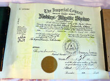 Nobles Of The Mystic Shriners Member Certificate in Madison, Wisconsin from 1949