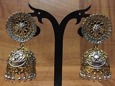 New Indian Pakistani Ethnic Bollywood Oxidised Gold Silver Jhumki Earring Bali