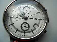 Fossil women's red leather band,quartz,battery & water resistant watch.Es-2423