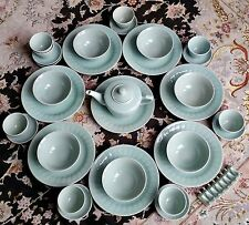 Fantastic 41 Piece Vintage Chinese Celadon Porcelain Dinner & Tea Service