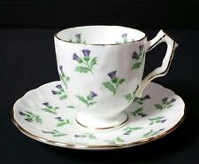 Aynsley Thistle Demitasse Cup Saucer Footed Gold Trim