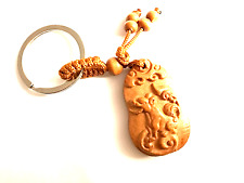 HANDWORK DOG PEACH WOOD CARVING, LUCKY CAR/BAG KEYCHAIN, KEYRING, AMULET.