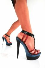 GIARO BLUE RED DENIM BLACK HIGH HEELS SHOE UK6.5-7 EU40 SEXY FETISH PLEASER