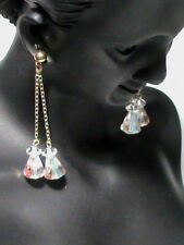 Sparkling Dangle with gold tone chain and post pierce earrings