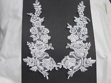 """2 PC LOT PEARL EMBROIDERED ORGANZA COLLAR SET APPLIQUES 10"""" X 4 1/2"""""""