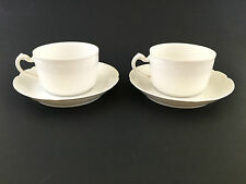 HAVILAND Set 2 MARSEILLE White Flat Cups Saucers FRANCE Scalloped Edge
