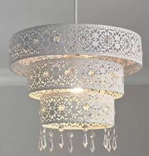 Stunning White Metal Morrocan Light Shade  Pendent 3 Tier