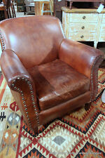 """34"""" Wide club chair vintage brown cigar distressed leather spectacular"""