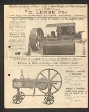 """AVIGNON (84) MACHINES pour FABRICATION de PRODUITS en CERAMIQUE """"E. LERME Fils"""""""