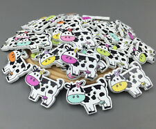 25X Cartoon Wooden Cows shape buttons 2-holes sewing crafts Scrapbooking 27mm