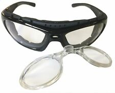 Motorcycle Riding Glasses Padded Black Clear Lens Removable Stem RX Insert