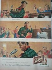 1950 Schlitz Beer Man Playin Violin Microphone Original Print Ad
