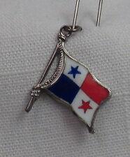 Vintage REU Sterling/Enamel Panama Flag Shaped Bracelet Charm - NOS
