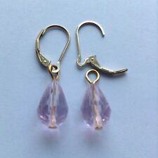 Crystal Teardrop GP Earring Charms, 2 Interchangeable 14K Gold Filled Lever back