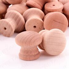 PACK OF 10 Natural 25mm Drilled Small Plain Wooden Door/Drawer Knobs/Handles Set