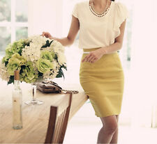 New Women's High Waisted Plain Midi Pencil Bodycon Stretch Work Office Skirt