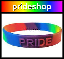 Double Rainbow Raised PRIDE Silicone Wristband Gay Lesbian Wrist Band #31