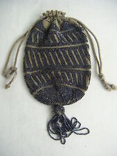 Victorian Antique Glass Beaded Crochet Drawstring Reticule Purse