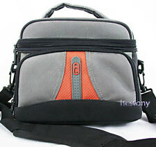 ICON Padded Nylon Film-DIGITAL CAMERA BAG~GREY w/ Padded Strap, Dividers+Pocket!
