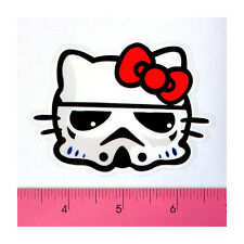 Skateboard Luggage Laptop PVC Clear Decal Sticker - Red Bow Storm Kitty Trooper