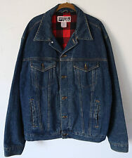 Vtg RUGGED WEAR ~Plaid Flannel Lined~ Denim Trucker Jeans Jacket Men's XL