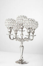 "5 Arm Silver Crystal Candelabra Wedding Centerpieces Votive Candle Holders 14"" H"