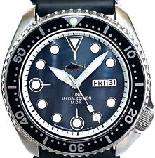 "Vintage watch Seiko mens Diver 6309 *mod w/new Black ""TUNA"" Mother of Pearl dial"
